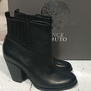 Vince Camuto Highland Black Leather Ankle Boots